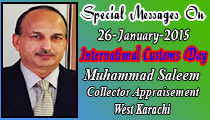 26-January-2015 International Customs Day Muhammad Saleem Collector Appriasement West Karachi