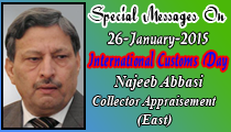 Special Messages On 26-January-2015 International Customs Day Najeeb Abbasi Collector Appraisement (East)